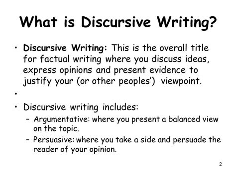 What Is A Discursive Essay by Discursive Writing Ppt