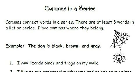 Commas In A Series Worksheets by Smiling And Shining In Second Grade Commas In A Series