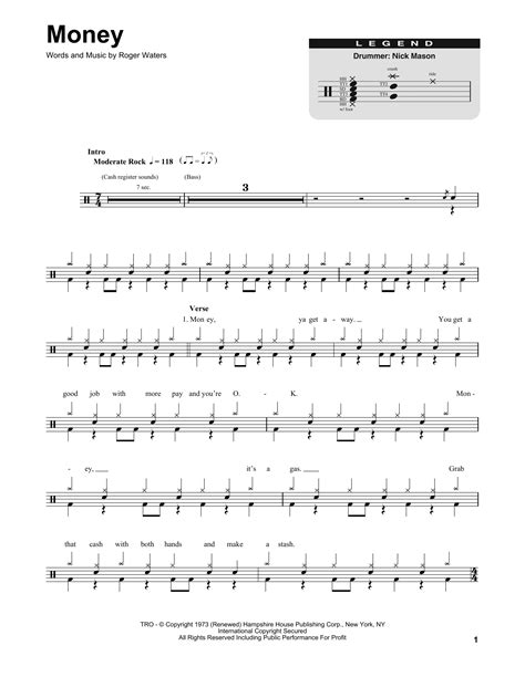 money money testo money sheet by pink floyd drums transcription 175036