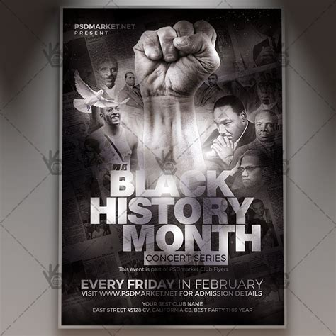 flyer design history black history month event club flyer psd template