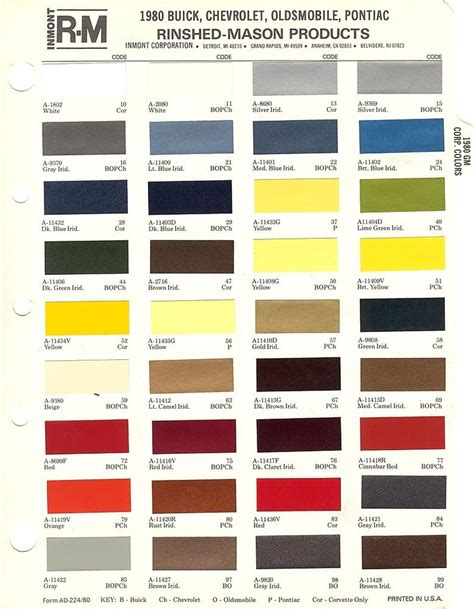 1980 gm buick chevy corvette olds pontiac ext int paint chips sheets r m ebay