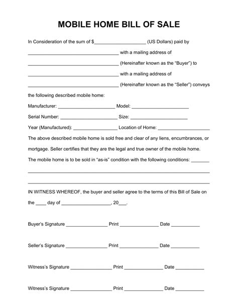 House Bill Of Sale Template free mobile manufactured home bill of sale form pdf