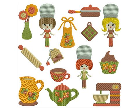 kitchen embroidery designs retro kitchen machine embroidery instant by embroiderquilt