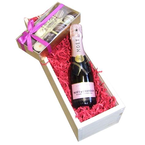 Total Wine And Spirits Gift Card - mini moet and chandon rose 20cl with truffles 100g presented in a wooden box lined