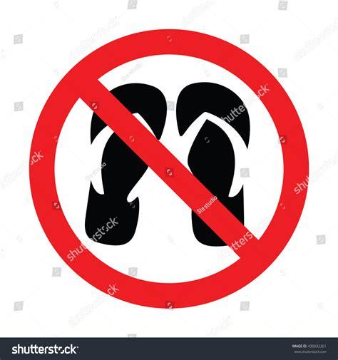 slipper sign no slippers sign vector illustration stock vector