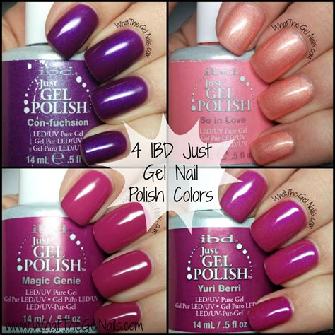 2 color nail purple and pink swatches of ibd just gel nail colors