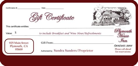 Bed And Breakfast Plymouth House Inn Bed And Breakfast Gift Certificate Template