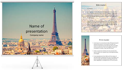 eiffel tower in paris powerpoint template backgrounds id