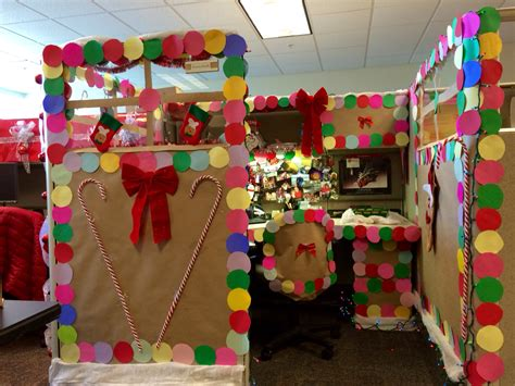 christmas contest at work gingerbread decorated cubicle