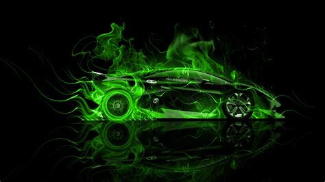 Lamborghini Sesto Elemento Side Violet Fire Abstract Car