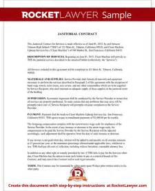 Housekeeping Contract Sle by Janitorial Services Contract Janitorial Contract With Sle