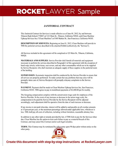 cleaning contract template free janitorial services contract janitorial contract with