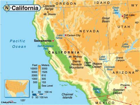 california map landforms california elevation map nevada garden