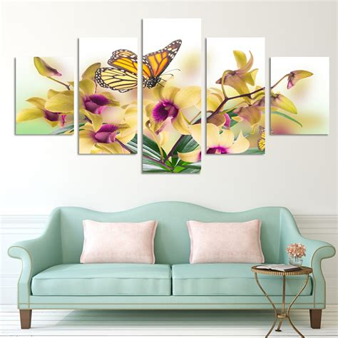 fashion design 5 panel modern wall painting yellow flowers abstract home wall picture paint