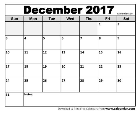 Calendar 2017 Printable December December 2017 Calendar Printable Template With Holidays