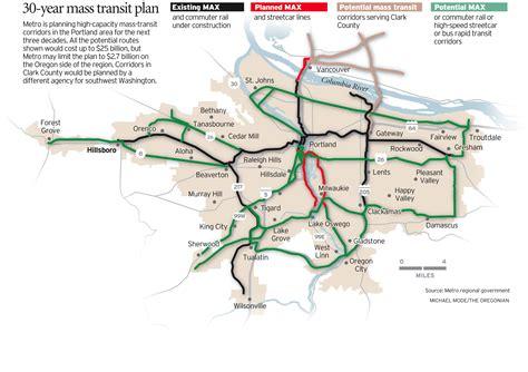 portland light rail map portland 226 s regional planning agency highlights two
