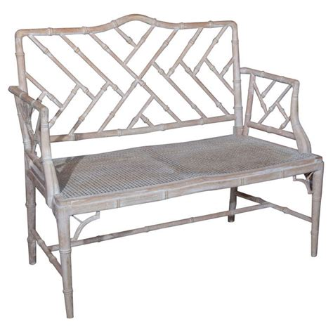1920s chinese chippendale style faux bamboo bench