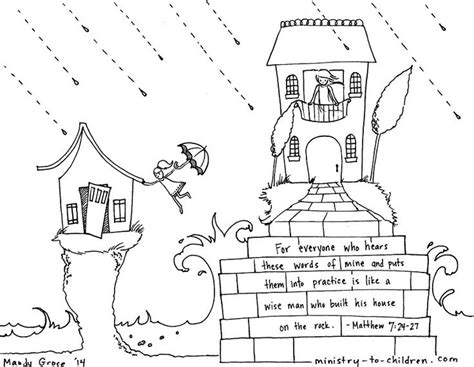 Matthew 7 Coloring Pages by Printable Coloring Sheet For Matthew 7 24 House Upon Rock