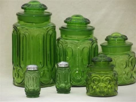 green canisters kitchen green glass moon stars pattern kitchen canisters