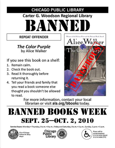 The Color Purple Banned Books Week 2010 Flyer Flickr