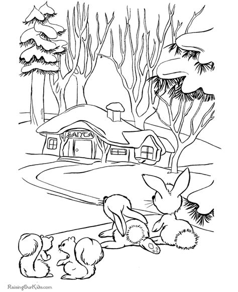 christmas scene coloring page santa s house