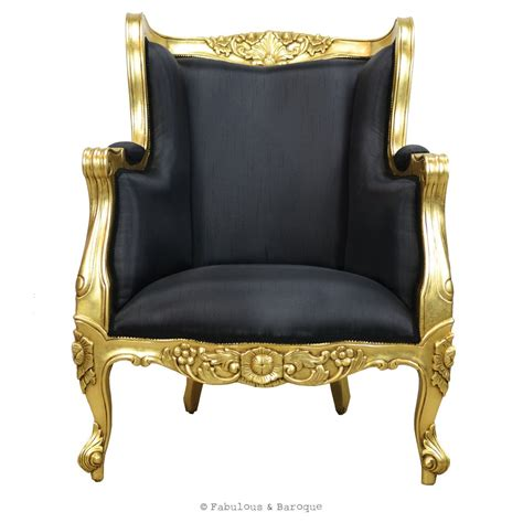 Gold Chair by Aveline Wing Back Chair Gold Leaf Black