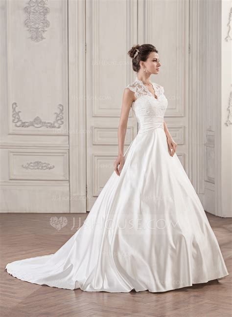 Court Wedding Dress gown v neck court satin lace wedding dress with