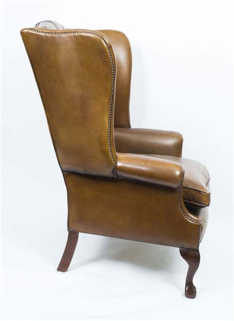 cognac leather wingback chair regent antiques armchairs and desk chairs armchairs