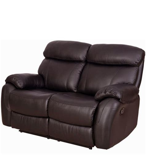 leather recliners india two seater pure leather recliner sofa in brown colour by