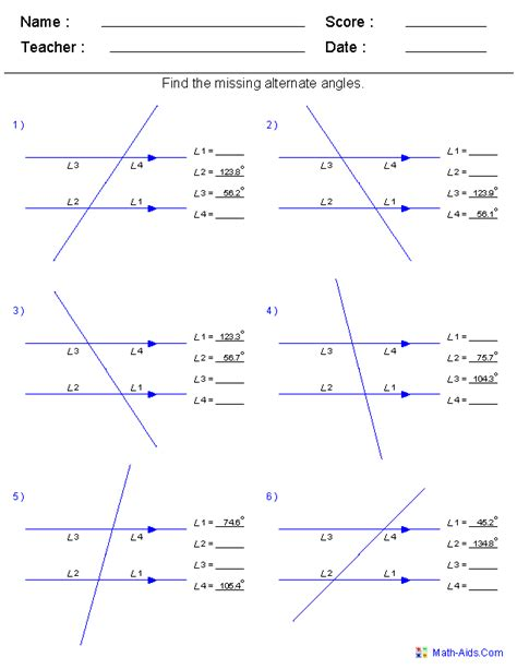 Corresponding Angles Worksheet by Angles Worksheet Grade 7 Corresponding Angles Worksheet