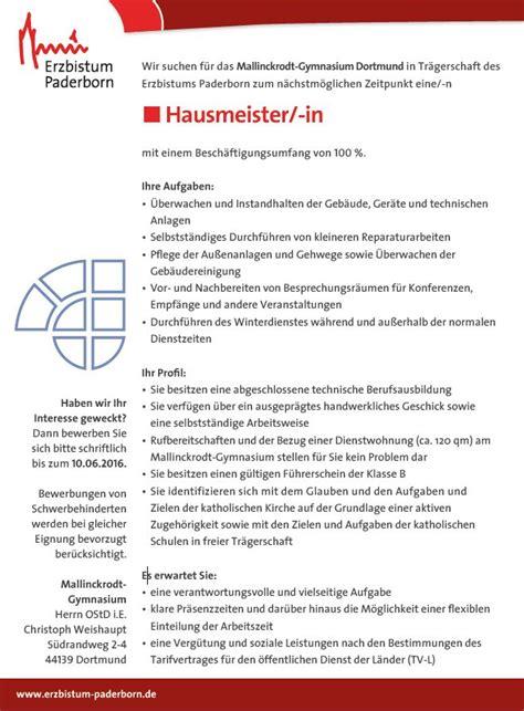 Bewerbung Zum Hausmeister Bewerbung Hausmeister Anschreiben Eine Perfekte