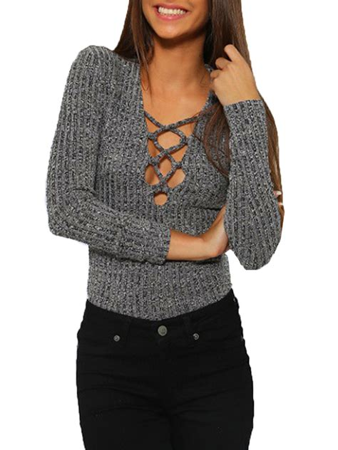 Knitted Blouse casual slim gray lace up sleeve v neck knit blouse alex nld