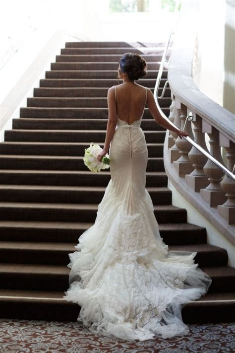 elegant backless wedding dresses with bow