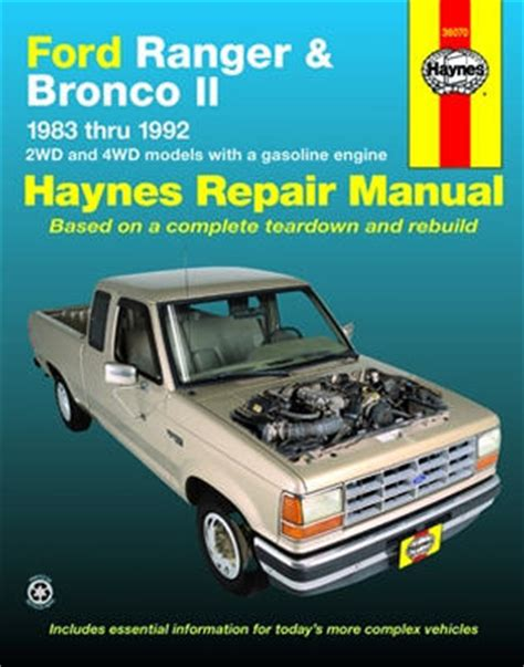 how to download repair manuals 1984 ford bronco ii lane departure warning ford ranger bronco ii haynes repair manual 1983 1992 hay36070