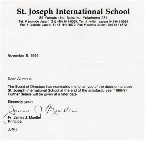 Official Letter St St Joe S The Closing On Our School