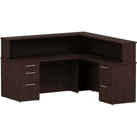 L Shape Reception Desk Bush Business 300 Series 72 Quot L Shaped Reception Desk In Mocha Cherry 300s073mr