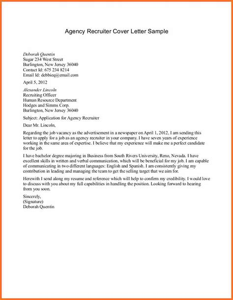 hr recruiter cover letter sle email to recruiter artresume sle