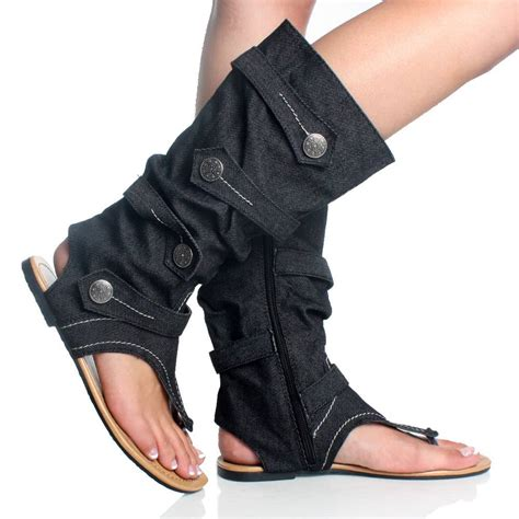 denim jean open toe mid calf boot flat dress sandal womens