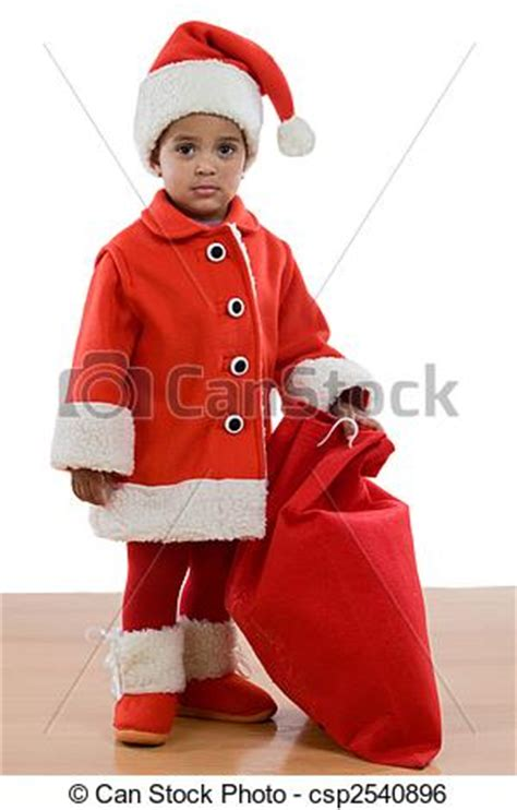 stock image of african baby girl with costume of santa