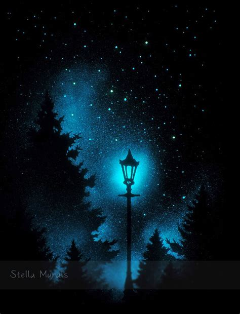 Outer Space Bedroom Decor glow in the dark night light lamp post in woods starry