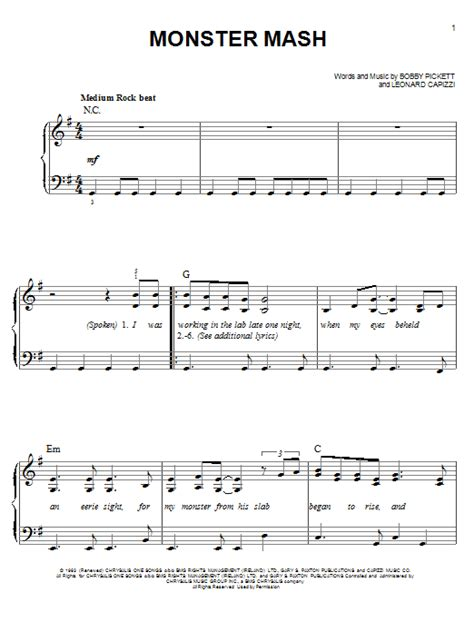 printable lyrics monster mash monster mash sheet music direct