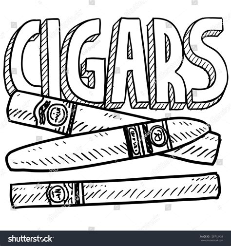 doodle tobacco doodle style cigars tobacco illustration vector stock