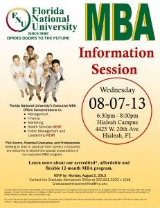 Utd Mba Informaiton Session by Mba Information Session Florida National