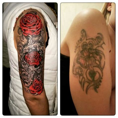 rose bush sleeve tattoo bush cover up design best