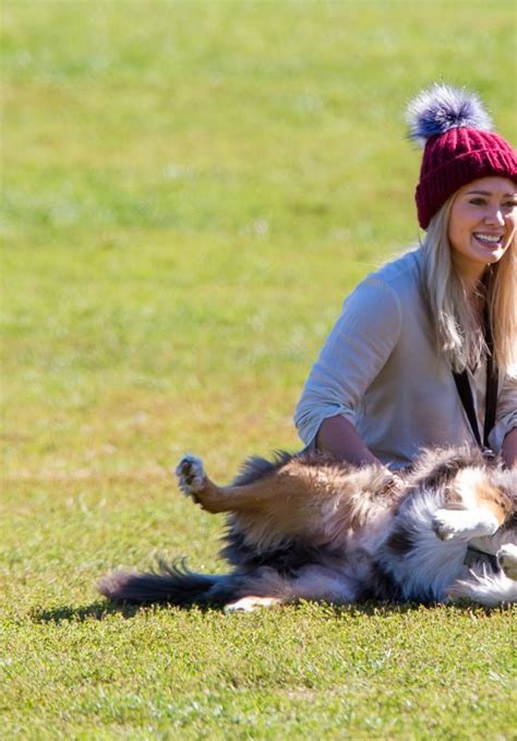 play with puppies nyc hilary duff at a park with dogs in new york city october 2015 celebsla