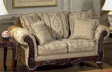 traditional fabric sofas beige clarissa carmel fabric traditional 2pc sofa set w