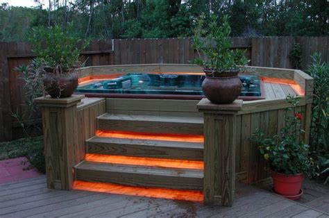 Backyard Hottub by Wooden Tub Deck Idea Exterior Deck Pergola