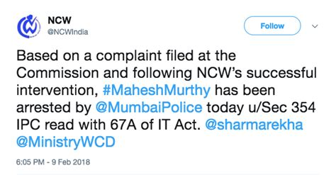 section 354 d ipc mahesh murthy granted anticipatory bail after arrest on