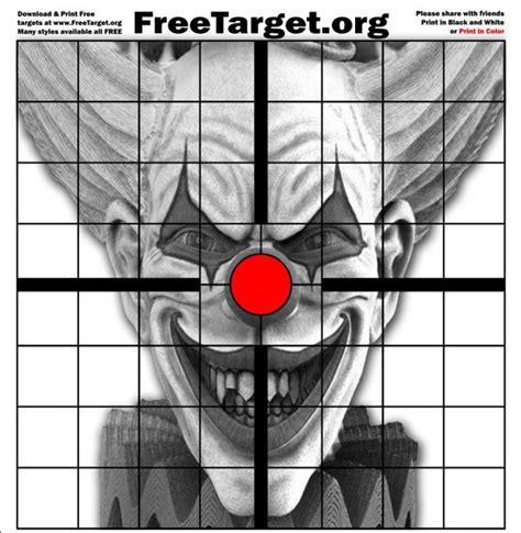 printable laser targets evil clown red dot 1 inch grid target freetarget org
