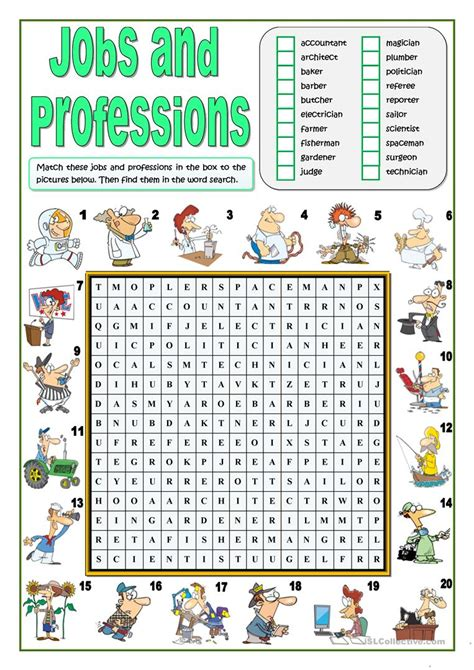printable word search on jobs jobs and professions wordsearch worksheet free esl